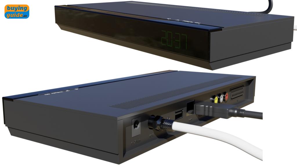 Receiver mit angeschlossenem Koaxialkabel vom LNB und HDMI-Kabel zum TV-Gerät