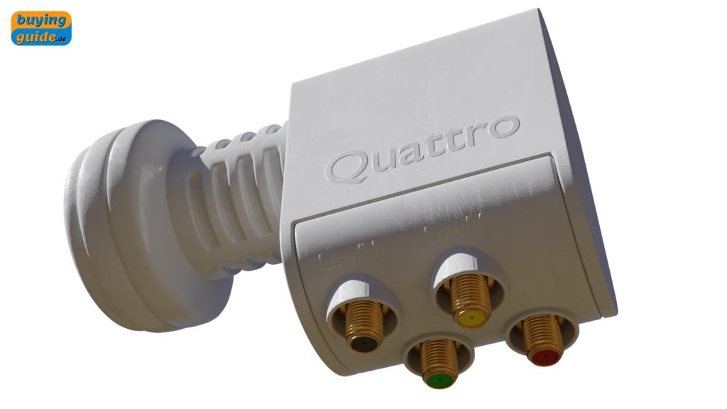 Quattro-LNB mit vier separat gekennzeichneten Ausgängen für die unterschiedlichen Empfangsebenen