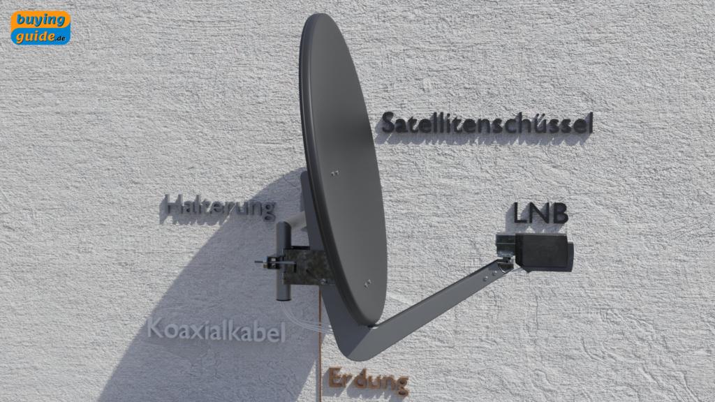 Satellitenschüssel mit LNB und Halterung
