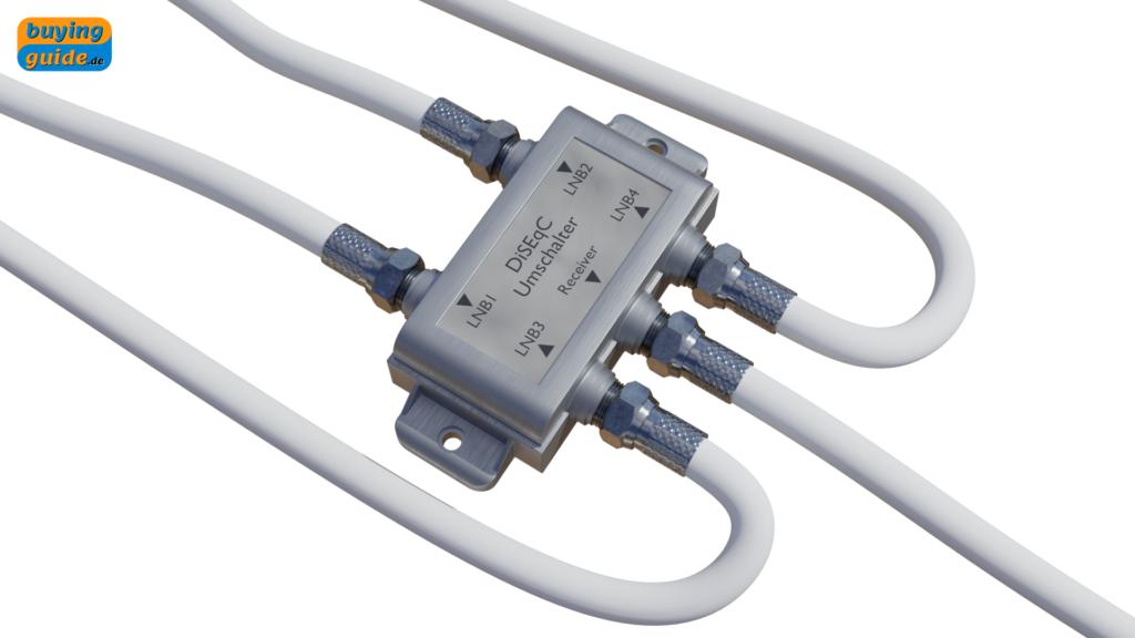 DiSEqC-Schalter zum Umschalten der Satellitenpositionen (LNB) in einer Multifeed-Anlage