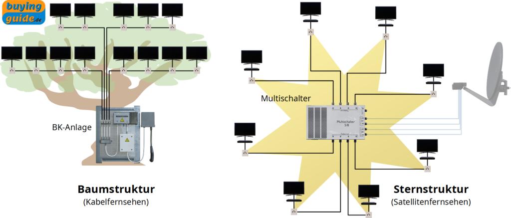 Vergleich der Verteilungsstrukturen beim Kabelfernsehen (Baumstruktur) und beim herkömmlichen Satellitenfernsehen (Sternstruktur)