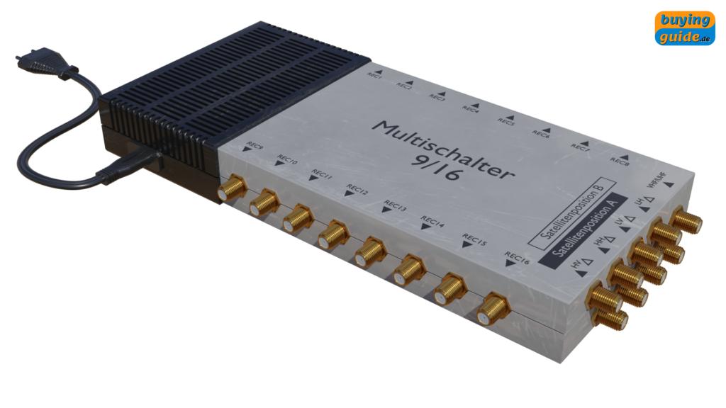9/16-Multischalter mit integriertem DiSEqC-Schalter für bis zu zwei Satellitenpositionen und 16 Teilnehmer