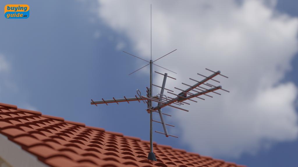 Dachantenne (Hausantenne) mit VHF/UHF- Antenne und UKW-Kreuzdipolantenne